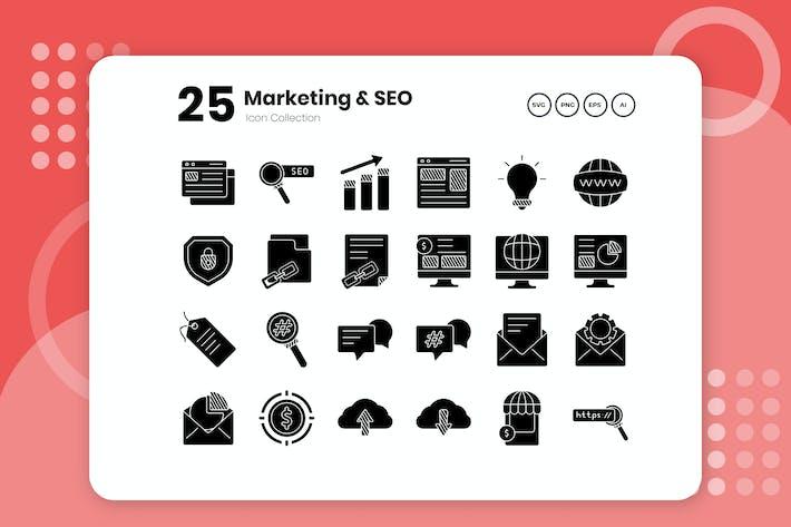 Thumbnail for 25 Marketing & SEO Glyph Icon Set