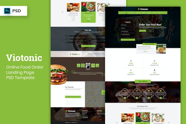 Thumbnail for Food Order Online - Landing Page PSD Template