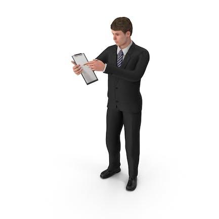 Businessman John Holding Notepad