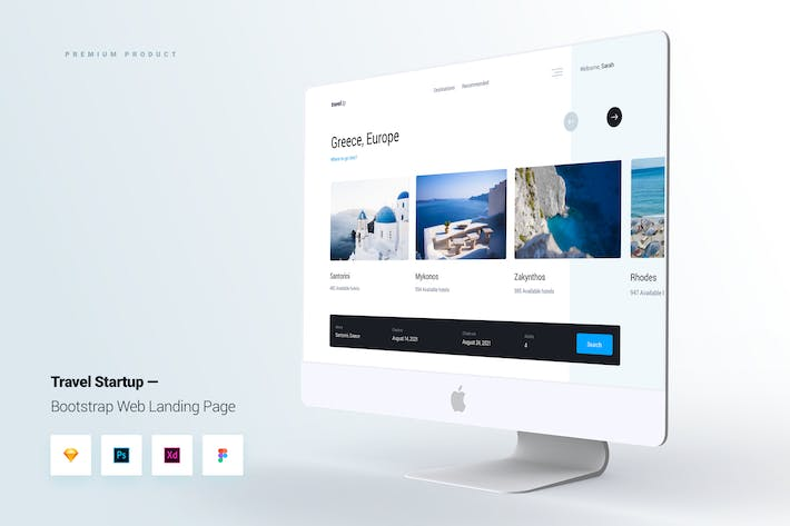 Thumbnail for Travel Startup Bootstrap Web Landing Page UI Kit