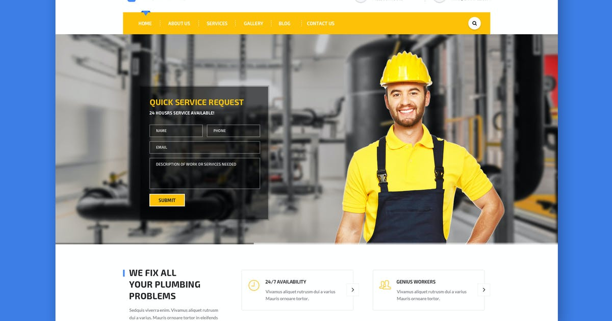 Download Handyman: Construction, Building & Plumbing HTML by WPmines