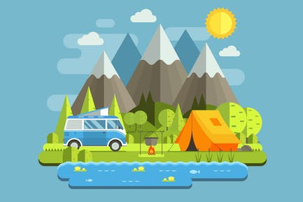 Forest RV Camping Landscape in Mountains
