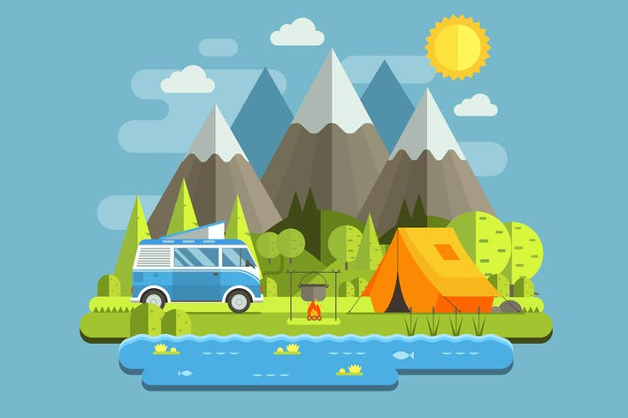 Thumbnail for Forest RV Camping Landscape in Mountains