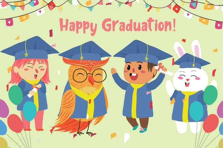 Cover Image For Happy Graduation - Vektor illustration