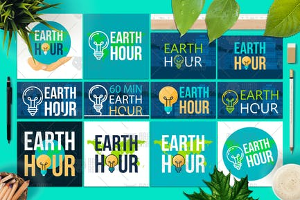 Earth Hour Banners With Lamp And Text