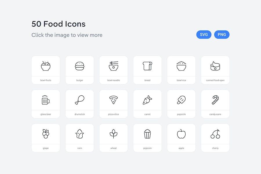 Lebensmittel-Symbole — Linie