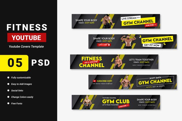 Fitness Gym Channel Youtube Banner Template