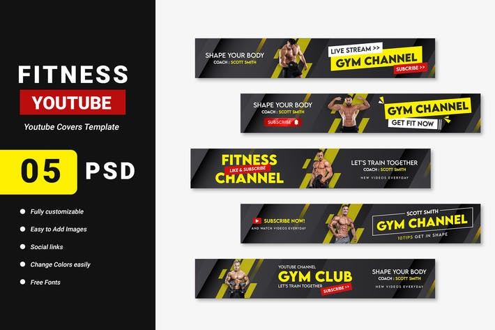 Thumbnail for Fitness Gym Channel Youtube Banner Template