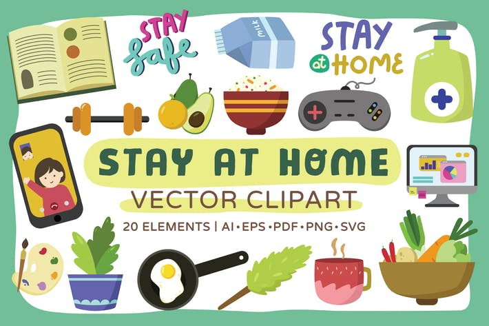 Thumbnail for Bleiben Sie im Home Vektor Clipart Pack