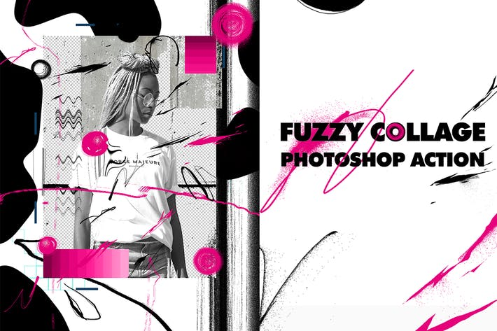 Thumbnail for Fuzzy Collage Photoshop Action