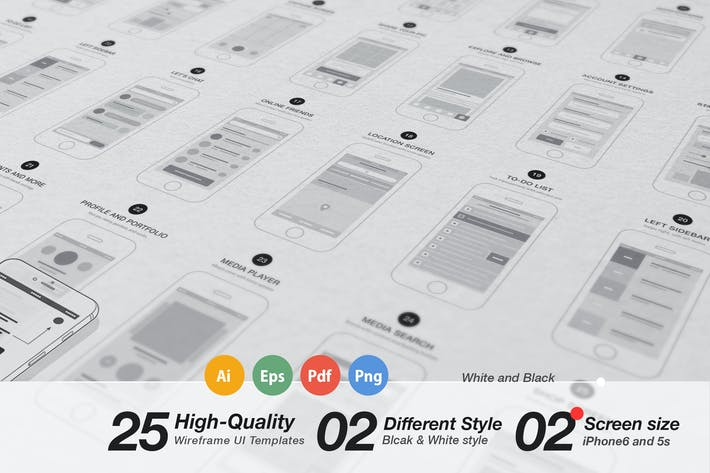 Thumbnail for App Wireframes UI Kit