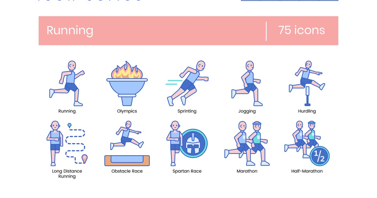 Download 75 Running Line Icons by Krafted