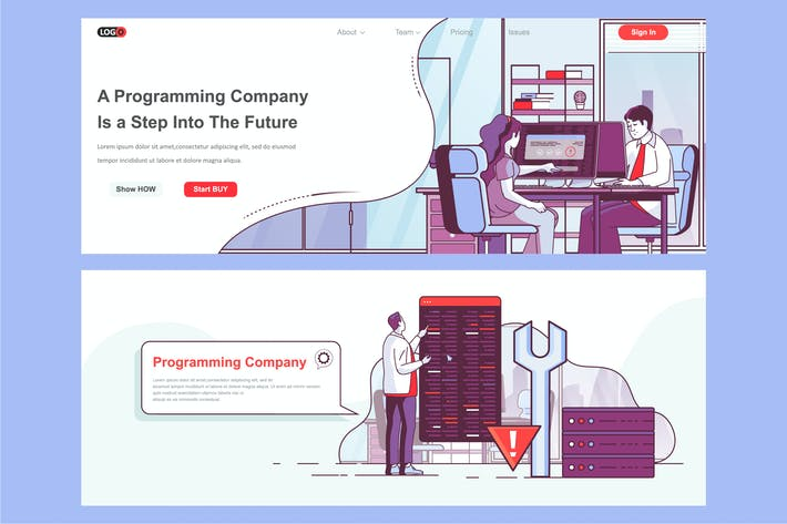 Thumbnail for Programming Agency Header Footer or Middle Content