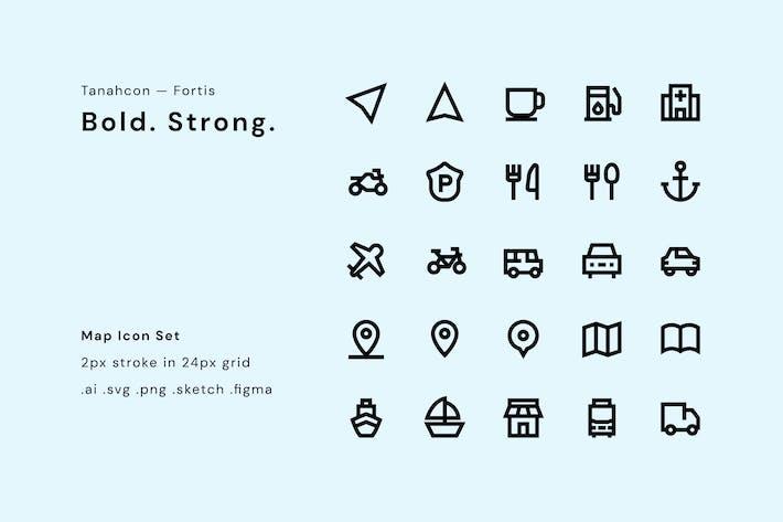 Thumbnail for UI Icon Set - Map