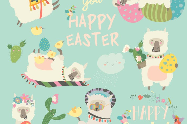 Thumbnail for Cute llama or alpaca with Easter eggs. Vector set