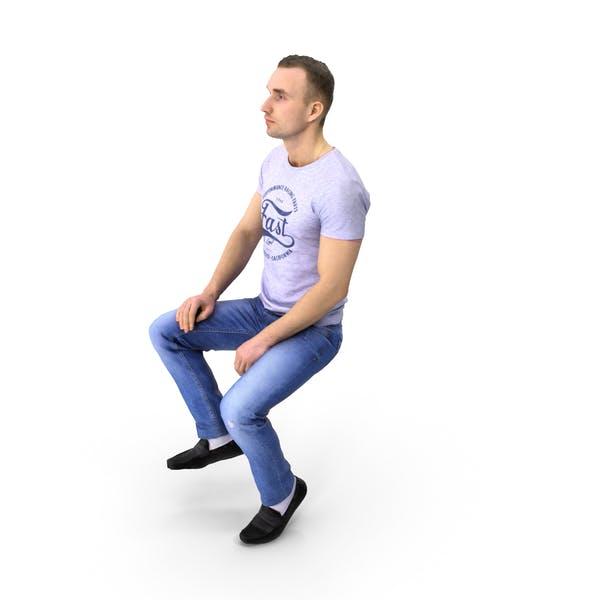 Spring Casual Man Sitting