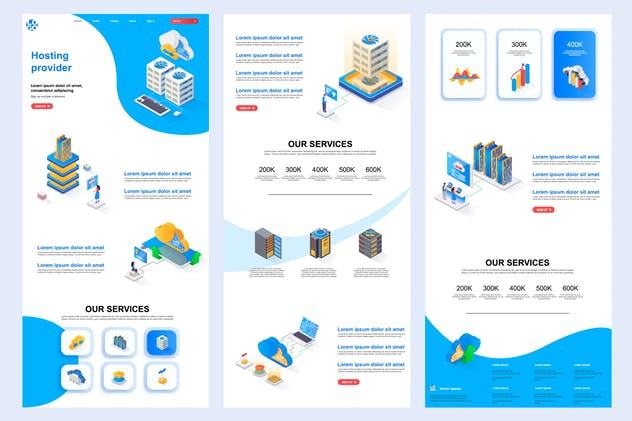 Hosting Provider Isometric Landing Page Template