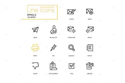 Emails - moderne Linie Design Icons Set