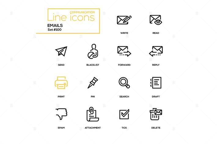 Thumbnail for Emails - modern line design icons set