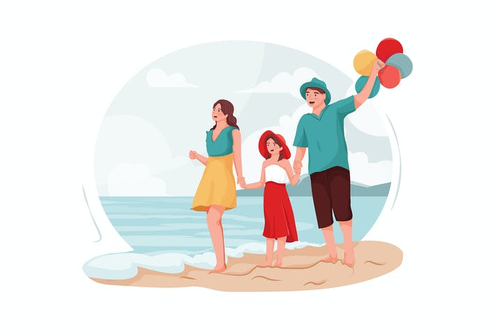 Thumbnail for Parents and daughter walking around the beach.