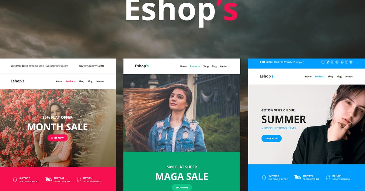 Download Eshop's Mail - 8 Unique Responsive Email set by williamdavidoff
