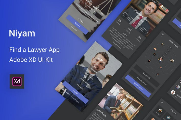 Thumbnail for Niyam - Find A Lawyer Adobe XD UI Kit