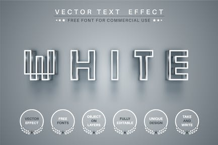 White pixel - editable text effect, font style