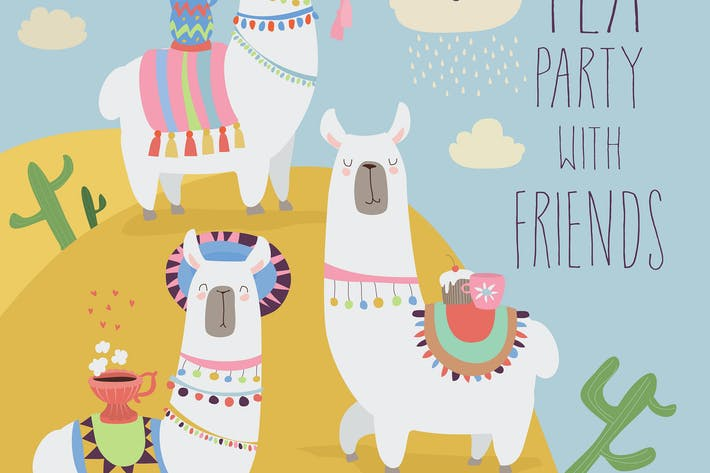 Thumbnail for Cute friends mexican white alpaca llamas drinking