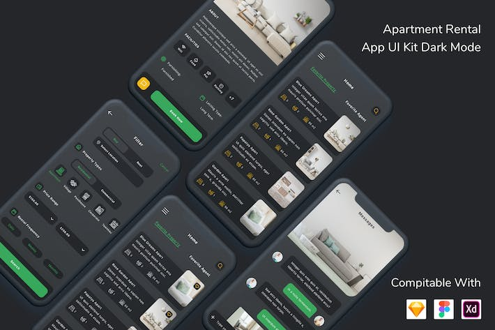 Cover Image For Apartment Rental App UI Kit Dark Mode