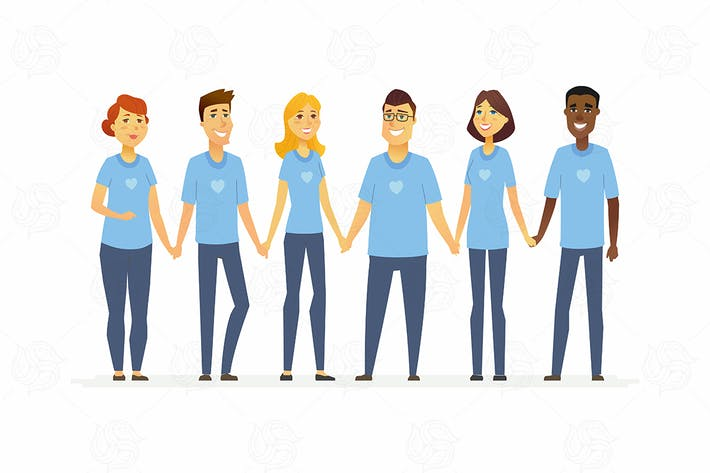 Thumbnail for Счастливые волонтеры держатся за руки - мультяшные люди