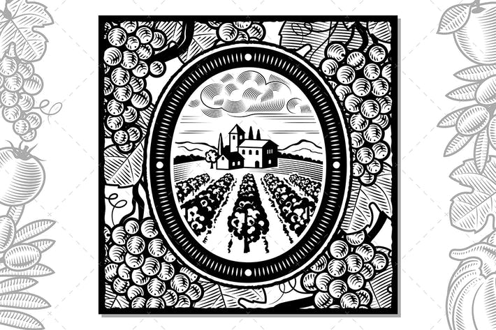 Thumbnail for Grapes Harvest Design Black And White