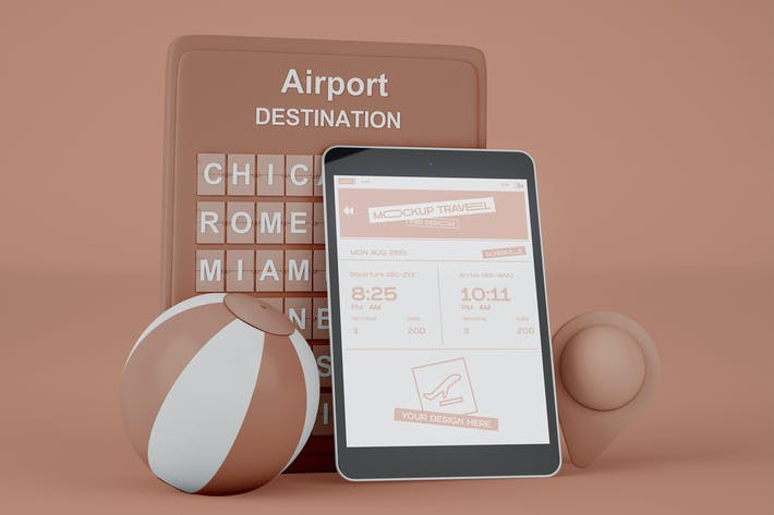 Thumbnail for Smartphone with Airport Board Mockup