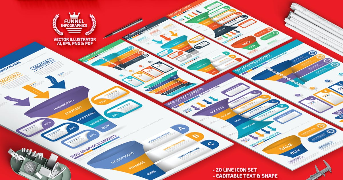 Download Sales Funnel Infographics by mamanamsai