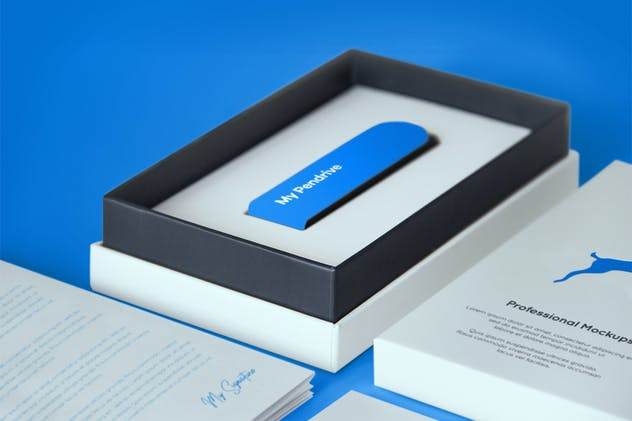 Open Product Box with Pendrive PSD Mockup - product preview 6