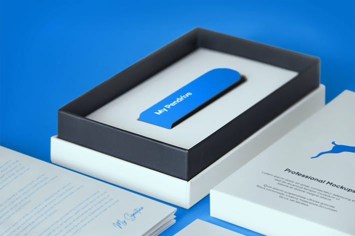 Thumbnail for Open Product Box with Pendrive PSD Mockup