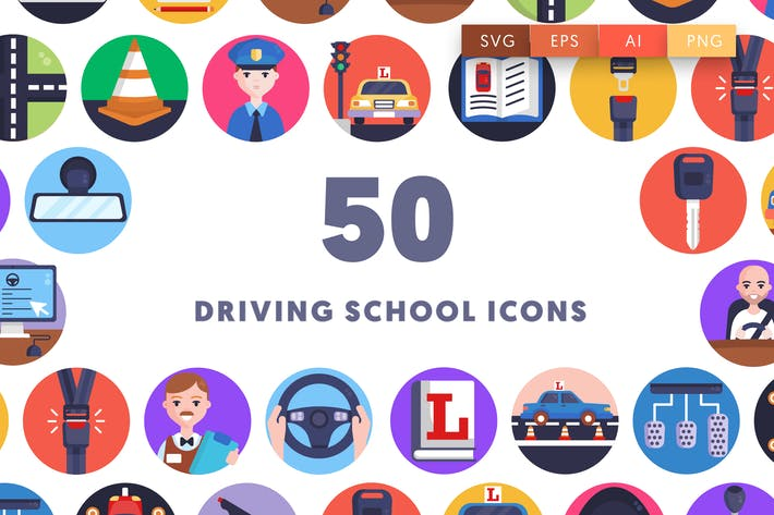 50 Driving School Icons