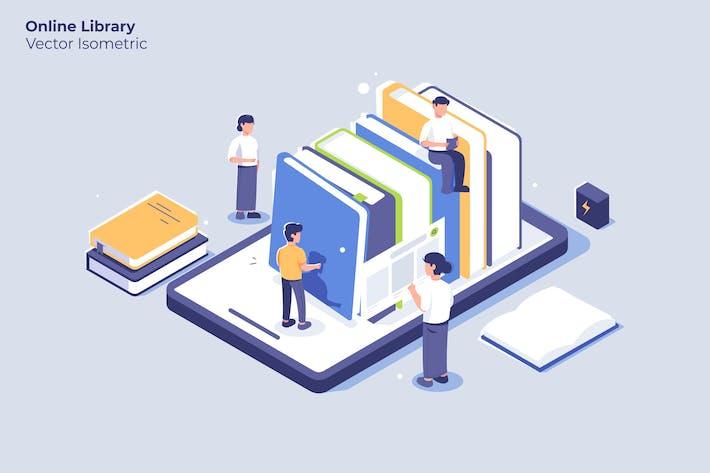 Biblioteca en línea - Ilustración Vector