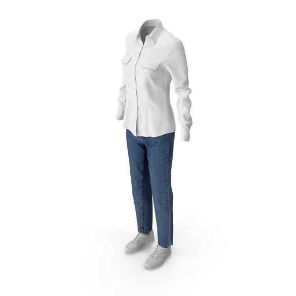 Thumbnail for Women's Jeans Shirt Shoes White