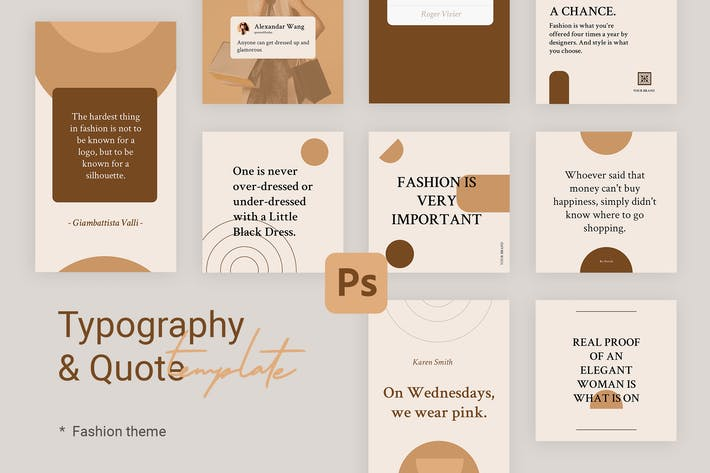 Thumbnail for Editable Quotes Instagram Templates for Fashion V2