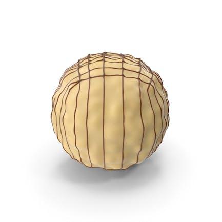 Weißer Schokoladenball mit Schokoladenlinien