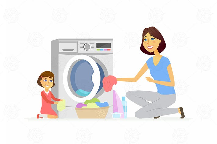 Thumbnail for Girl helps mother with washing - illustration