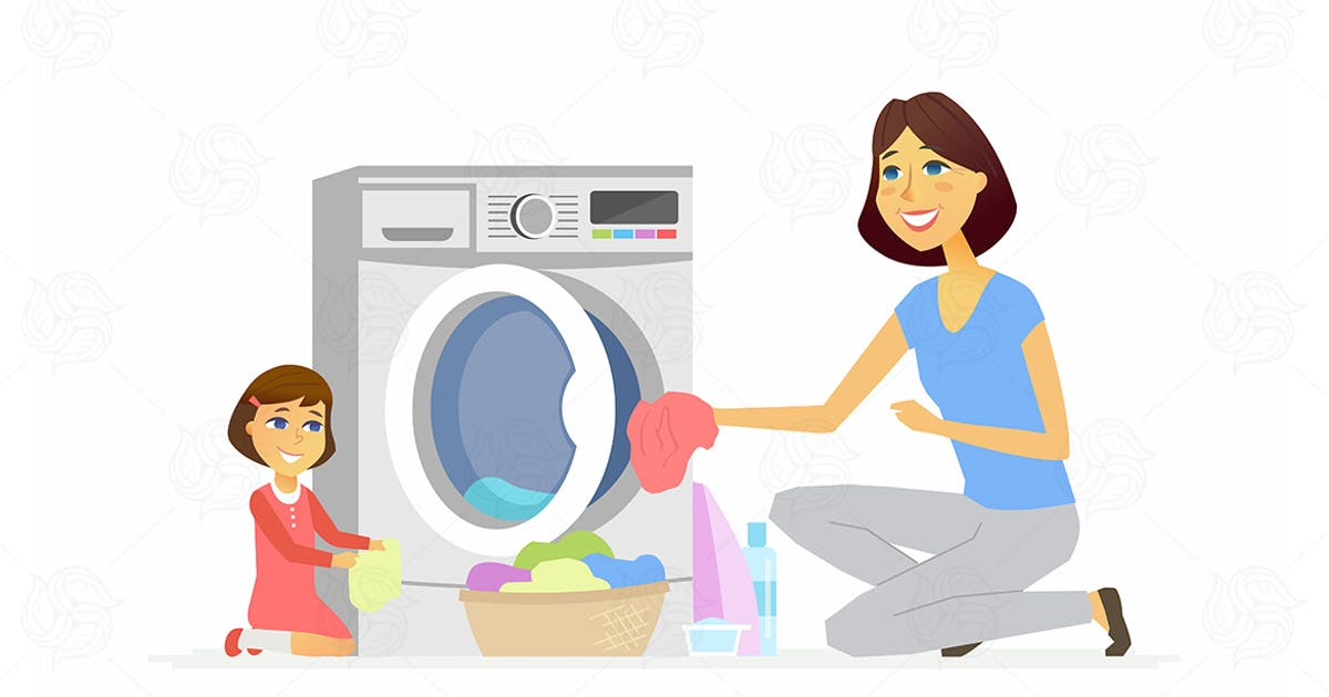 Download Girl helps mother with washing - illustration by BoykoPictures