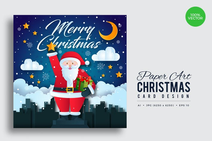 Thumbnail for Merry Christmas Square Vector Card Vol.1
