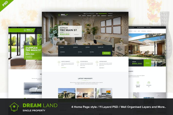 DREAM LAND - Single & Multi Property PSD Template