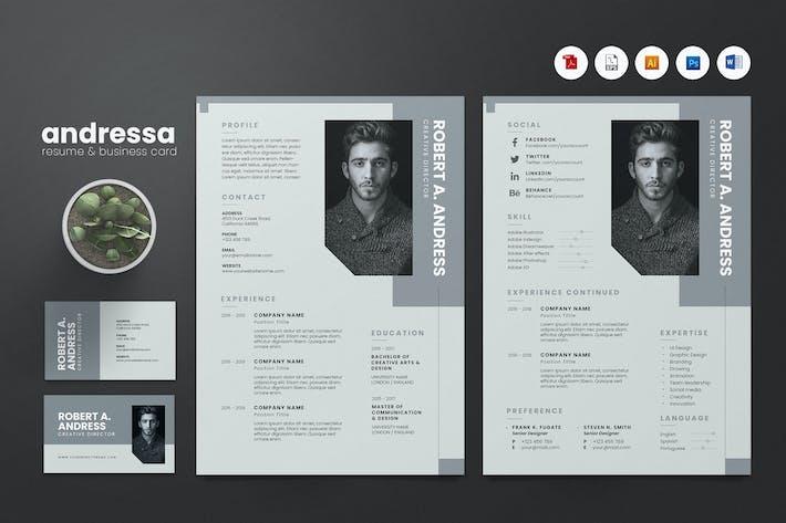 Thumbnail for Creative CV Resume & Name Card PSD, DOCX, AI No.11
