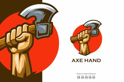 Axe & Hand Mascot Logo