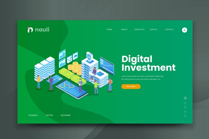 Thumbnail for Isometric Digital Investment Web PSD und AI Vektor