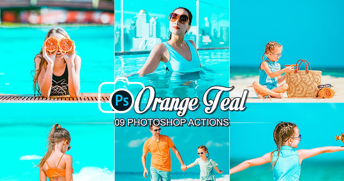 Download 09 Orange and Teal Photoshop Actions by 2lagus
