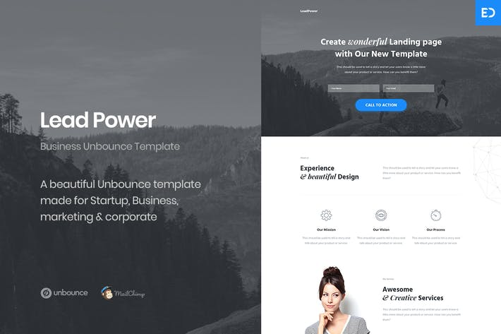 Thumbnail for LeadPower - Unbounce Landing Page Template
