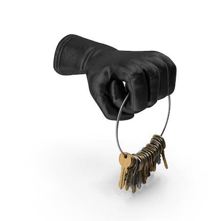 Handschuh hält einen großen Schlüsselkettenring